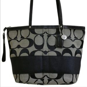 Authentic Coach Signature Black Stripe Tote